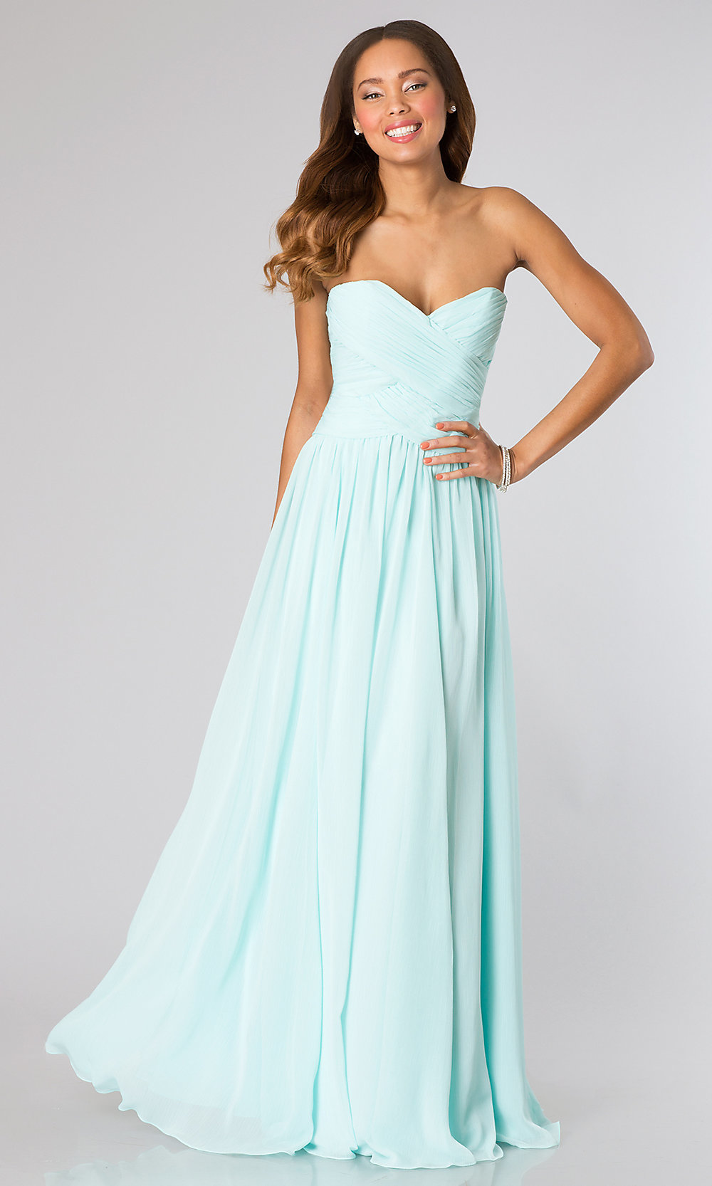 Mori Lee Long Strapless Bridesmaid Dress- PromGirl