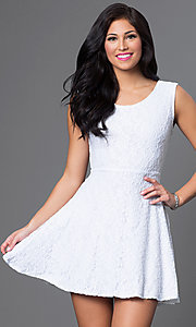 Short Strapless White Dress- PromGirl