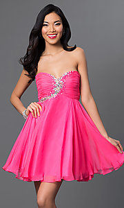 Image of rhinestone-embellished pink Alyce Paris party dress. Style: AL-3560 Front Image