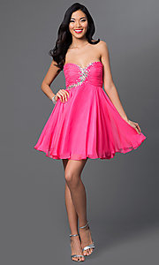Image of rhinestone-embellished pink Alyce Paris party dress. Style: AL-3560 Detail Image 1