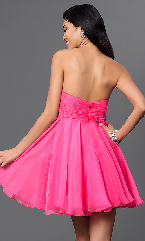 Image of rhinestone-embellished pink Alyce Paris party dress. Style: AL-3560 Back Image