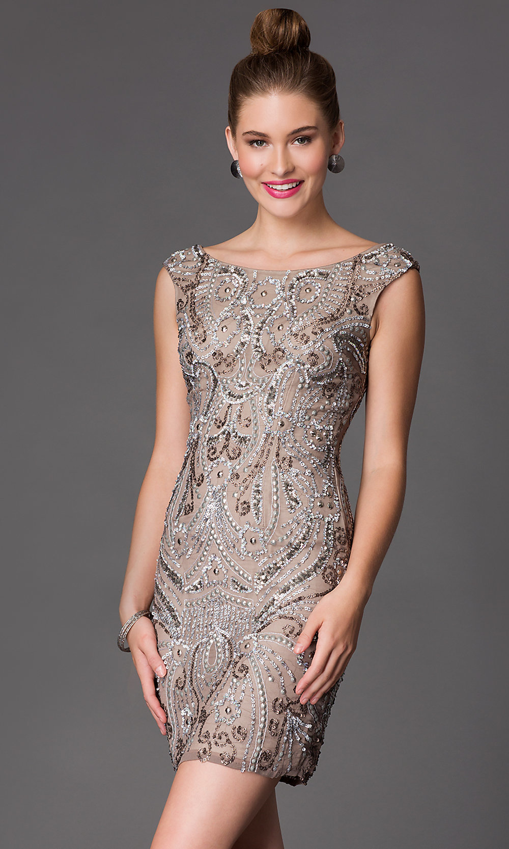 Short Beaded Shail K Homecoming Dress - PromGirl