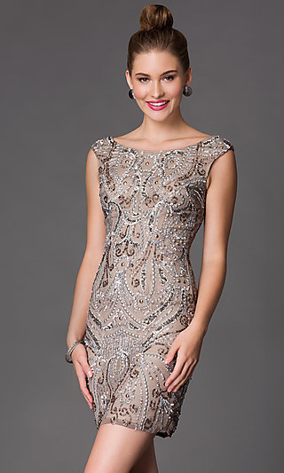 Tea Length Dress Sequin Silver Top