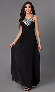Long Sleeveless Dress with Sequin V-Neckline