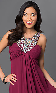 Image of long sleeveless dress with sequin v-neckline. Style: NA-2592 Detail Image 2