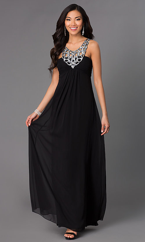 Image of long sleeveless dress with sequin v-neckline. Style: NA-2592 Front Image