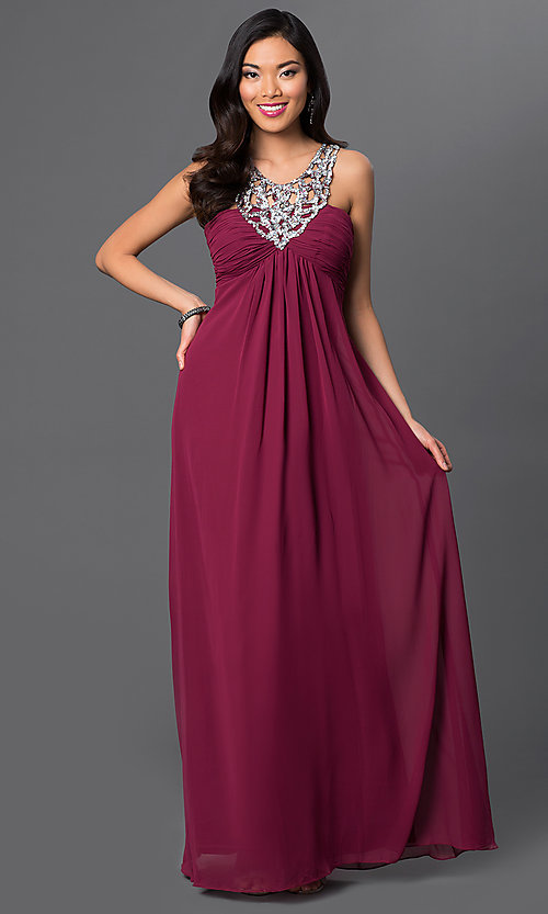 Image of long sleeveless dress with sequin v-neckline. Style: NA-2592 Detail Image 1