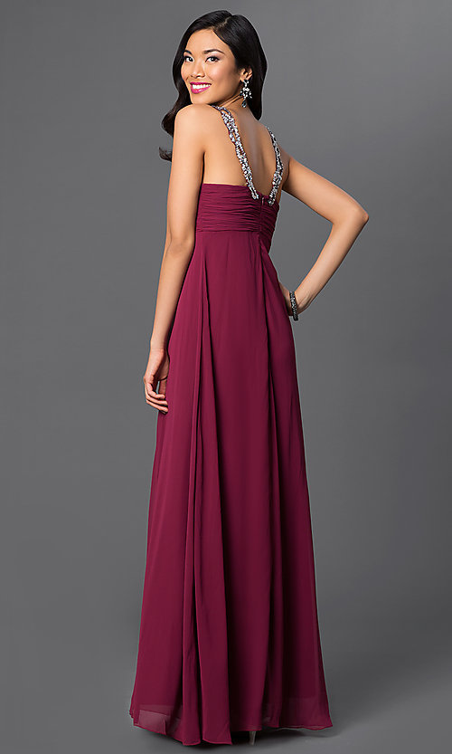 Image of long sleeveless dress with sequin v-neckline. Style: NA-2592 Back Image