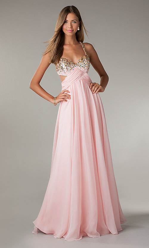 Long pale pink prom dresses