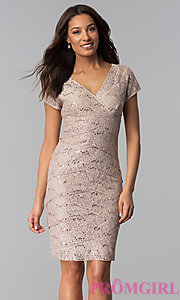 V-Neck Sequin-Lace Knee-Length Wedding Guest Dress