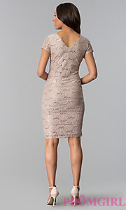 Image of v-neck sequin-lace knee-length wedding guest dress. Style: SD-S256930 Detail Image 2