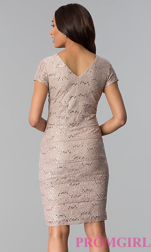 Image of v-neck sequin-lace knee-length wedding guest dress. Style: SD-S256930 Back Image