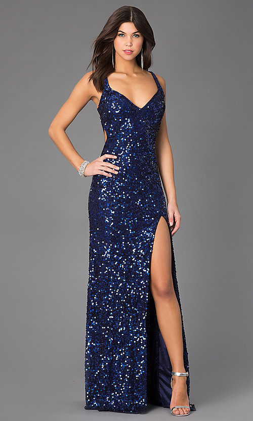Primavera V-neck Sequin Prom Dress, Sequin Evening Gown-PromGirl