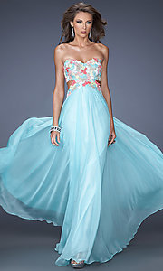 Image of La Femme long sweetheart open-back prom dress. Style: LF-20059 Front Image
