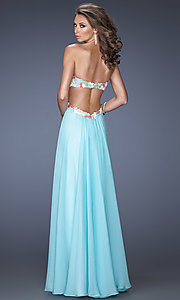 Image of La Femme long sweetheart open-back prom dress. Style: LF-20059 Back Image
