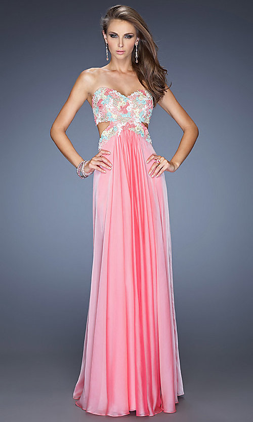 Image of La Femme long sweetheart open-back prom dress. Style: LF-