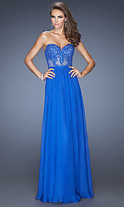 Strapless Illusion-Lace Prom Gown by La Femme 20393