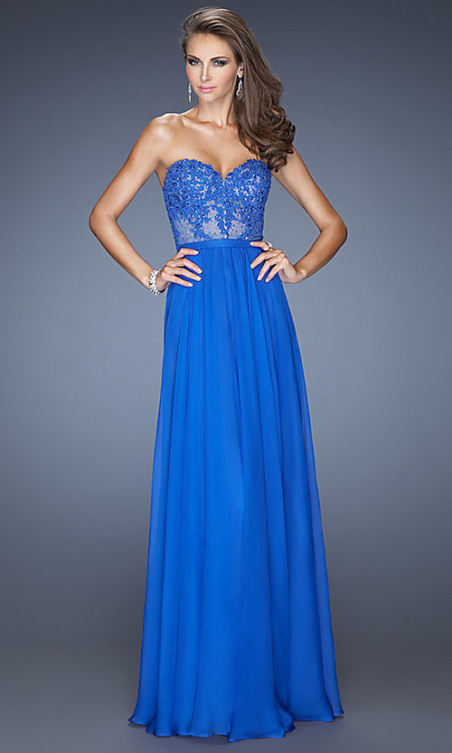 Image of strapless illusion-lace prom gown by La Femme 20393. Style: LF