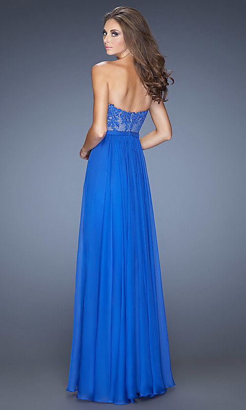 Image of strapless illusion-lace prom gown by La Femme 20393. Style: LF-20393 Back Image