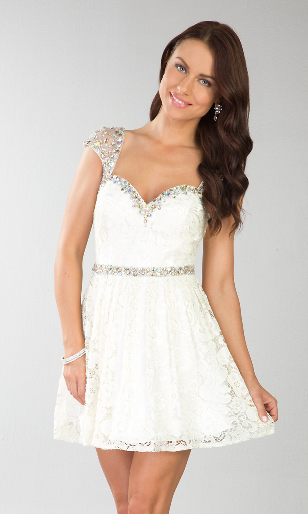 Short Cap Sleeve Cocktail Dress, Short Lace Prom Dress- PromGirl