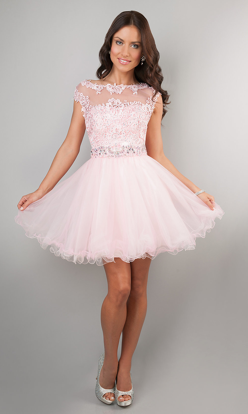 Short Cap Sleeve Lace Homecoming Party Dress- PromGirl