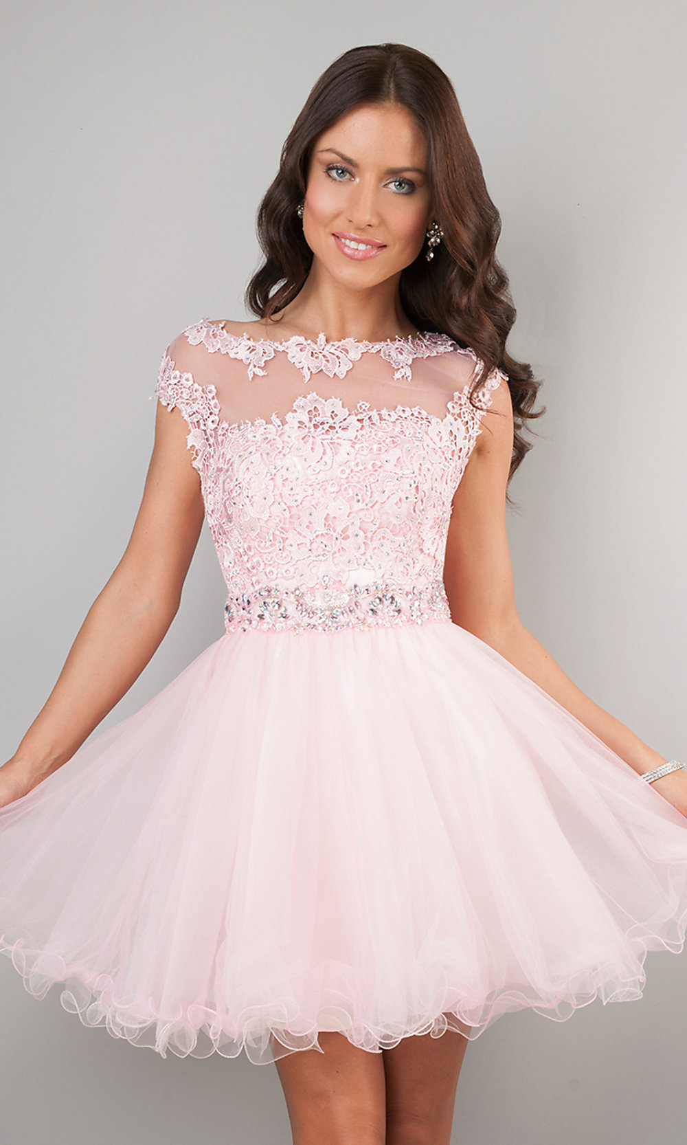 Short Cap Sleeve Dress, Short Pink Lace Dress- PromGirl