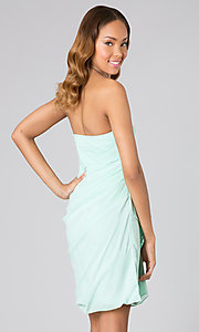 Image of short ruched strapless cocktail dress.  Style: MT-MD-3727-3 Back Image