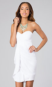 Image of short ruched strapless cocktail dress.  Style: MT-MD-3727-3 Front Image
