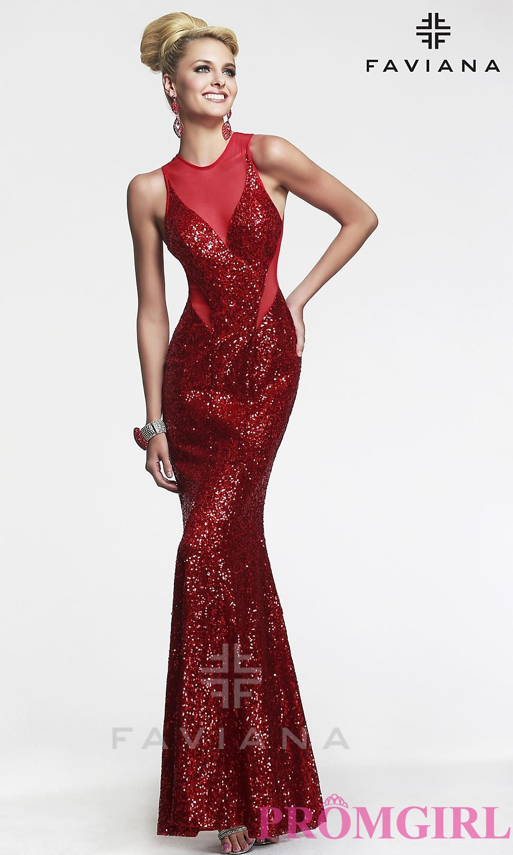 Sexy Open Back Prom Gown, Faviana Sequin Prom Dresses- PromGirl