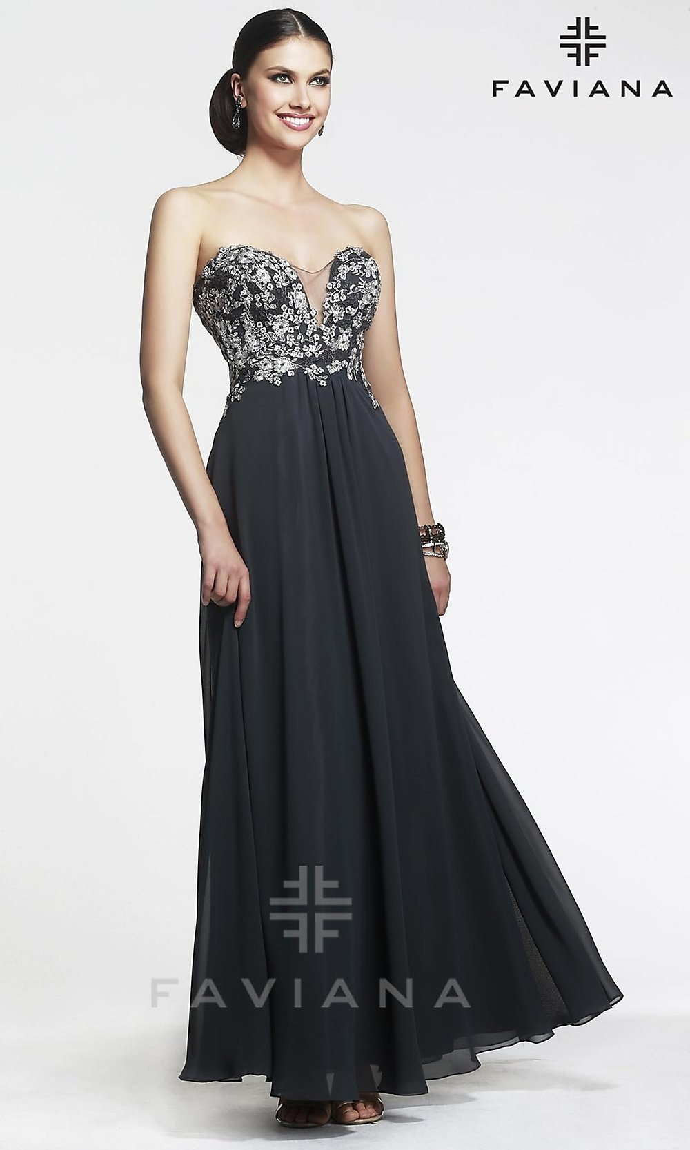 Strapless Low Cut Prom Dresses, Faviana Strapless Gowns- PromGirl