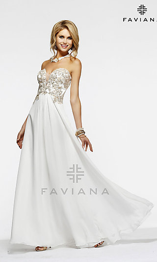 Low Cut Prom Gown by Faviana S7325
