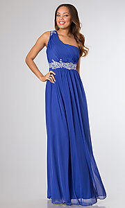 Image of long one-shoulder pleated-bodice prom dress. Style: NA-2688 Front Image
