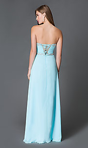 long strapless prom gown with corset tops promgirl