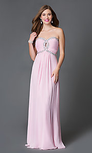 Long Strapless Prom Dress with Corset Top