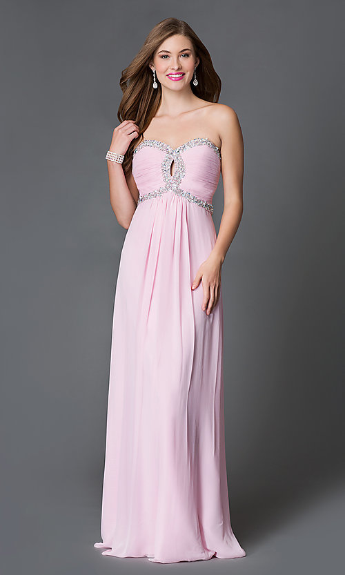 Long Strapless Prom Gown with Corset Tops- PromGirl