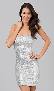 Short Strapless Sequin Dress for Homecoming- PromGirl
