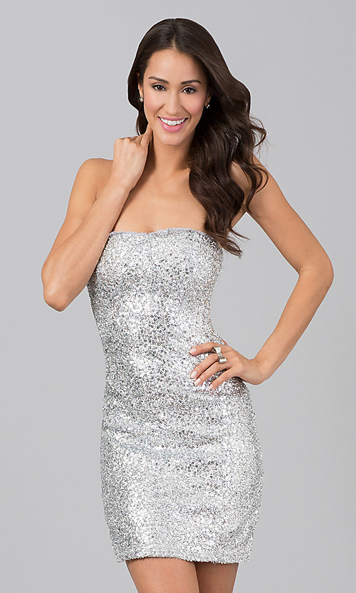 Short Strapless Silver Dress