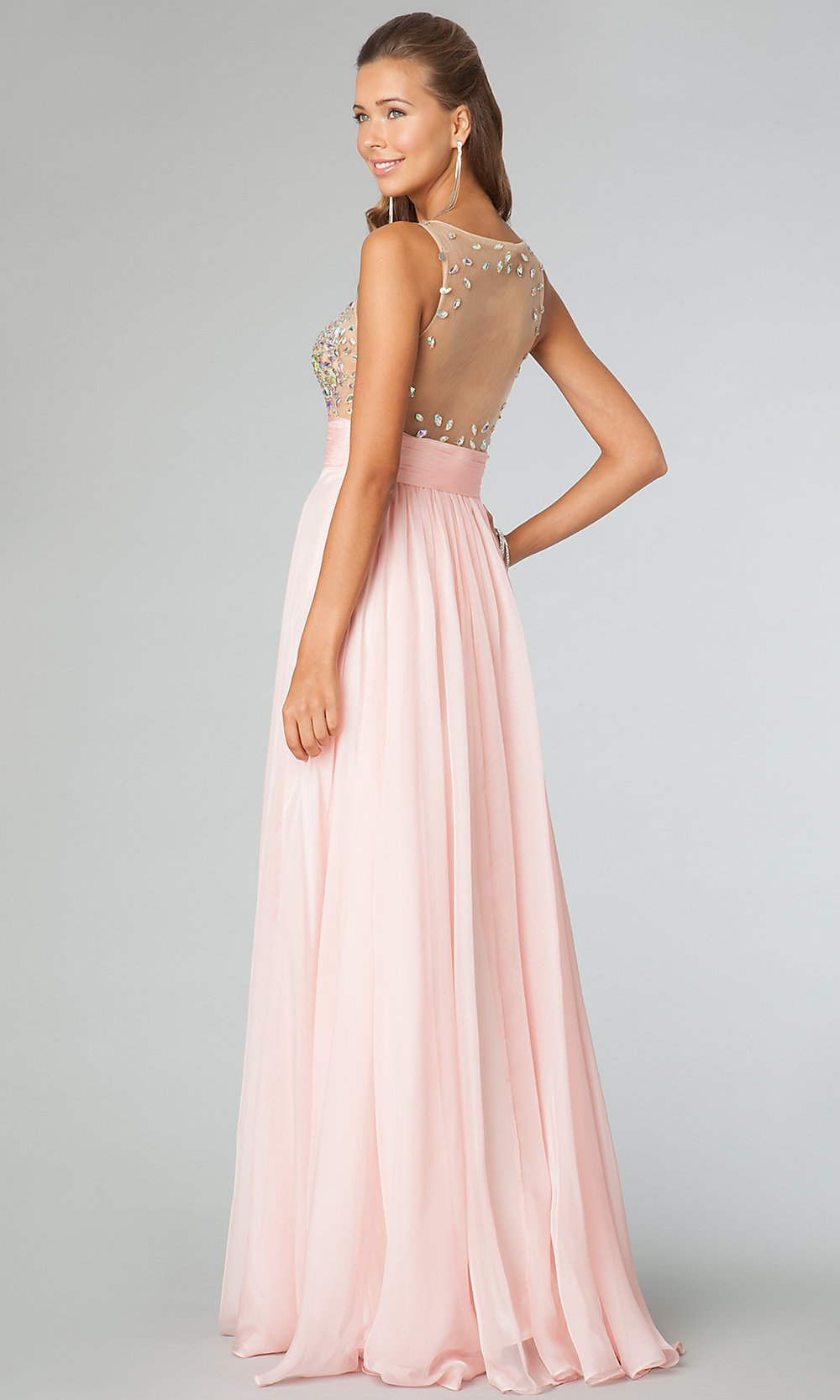 Sleeveless Illusion Beaded JVN Prom Gown - PromGirl