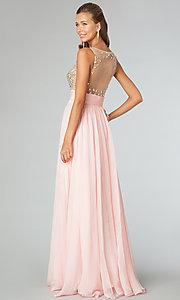 Image of sleeveless illusion beaded prom gown JVN by Jovani. Style: JO-JVN-JVN91296 Back Image