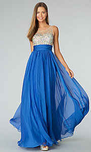 Sleeveless Illusion Beaded Prom Gown JVN by Jovani