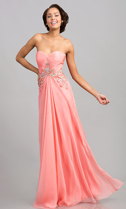 Image of strapless JVN by Jovani pink prom gown.  Style: JO-JVN-JVN2563 Front Image