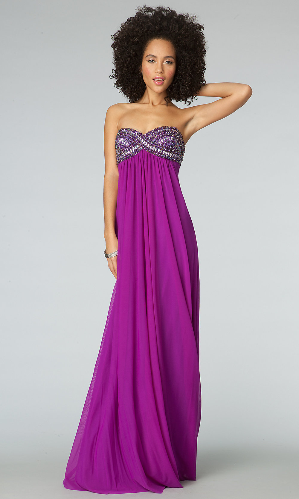 Strapless Beaded Empire-Waist Long Dress- PromGirl