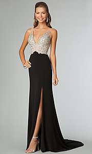 Image of jeweled-bodice open-back evening gown JVN by Jovani.  Style: JO-JVN-JVN86957 Front Image