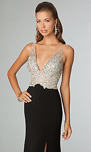 Image of jeweled-bodice open-back evening gown JVN by Jovani.  Style: JO-JVN-JVN86957 Detail Image 1