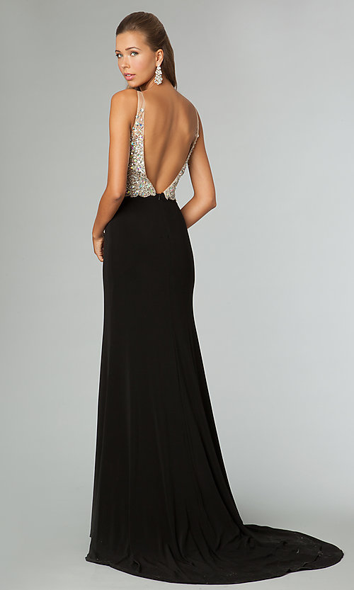 Image of jeweled-bodice open-back evening gown JVN by Jovani.  Style: JO-JVN-JVN86957 Back Image