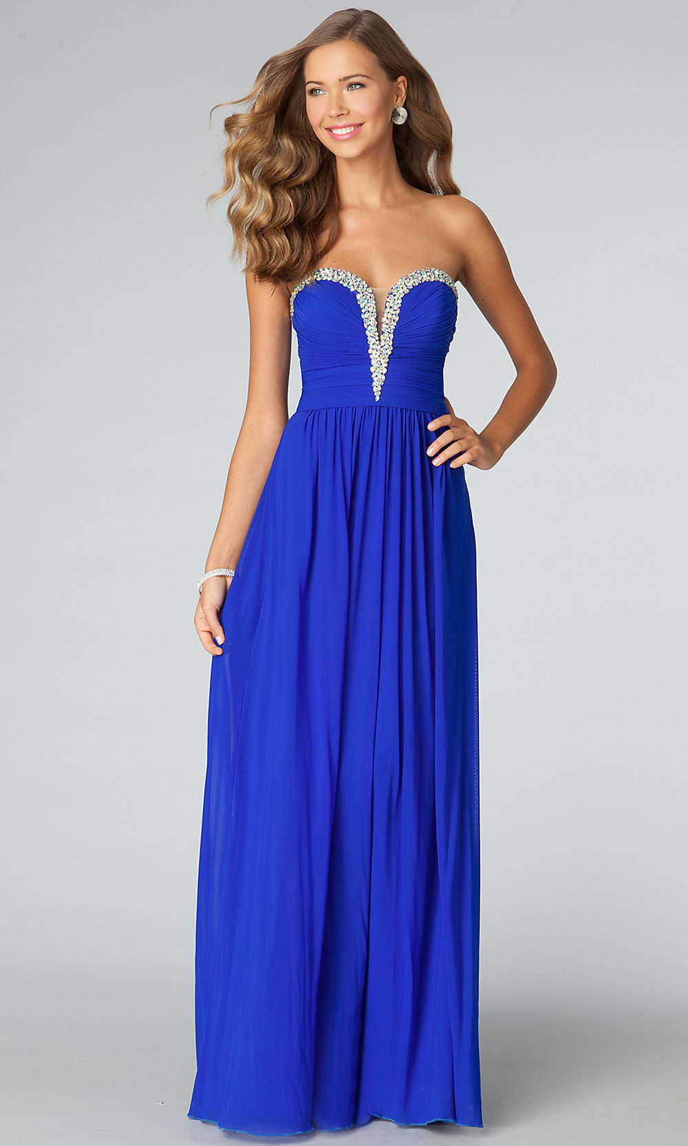 Beaded Strapless JVN by Jovani Prom Gown- PromGirl