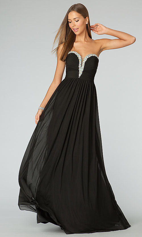 Image of beaded-sweetheart strapless prom gown JVN by Jovani. Style: JO-JVN-JVN90365 Detail Image 1