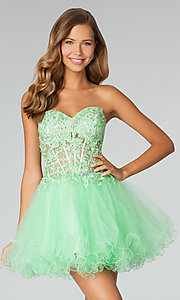 Short Strapless Baby Doll Prom Dress by Jovani