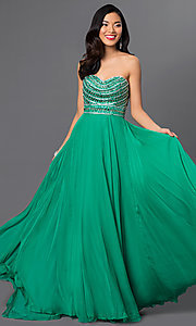 Strapless Beaded Gown by Sherri Hill 8546