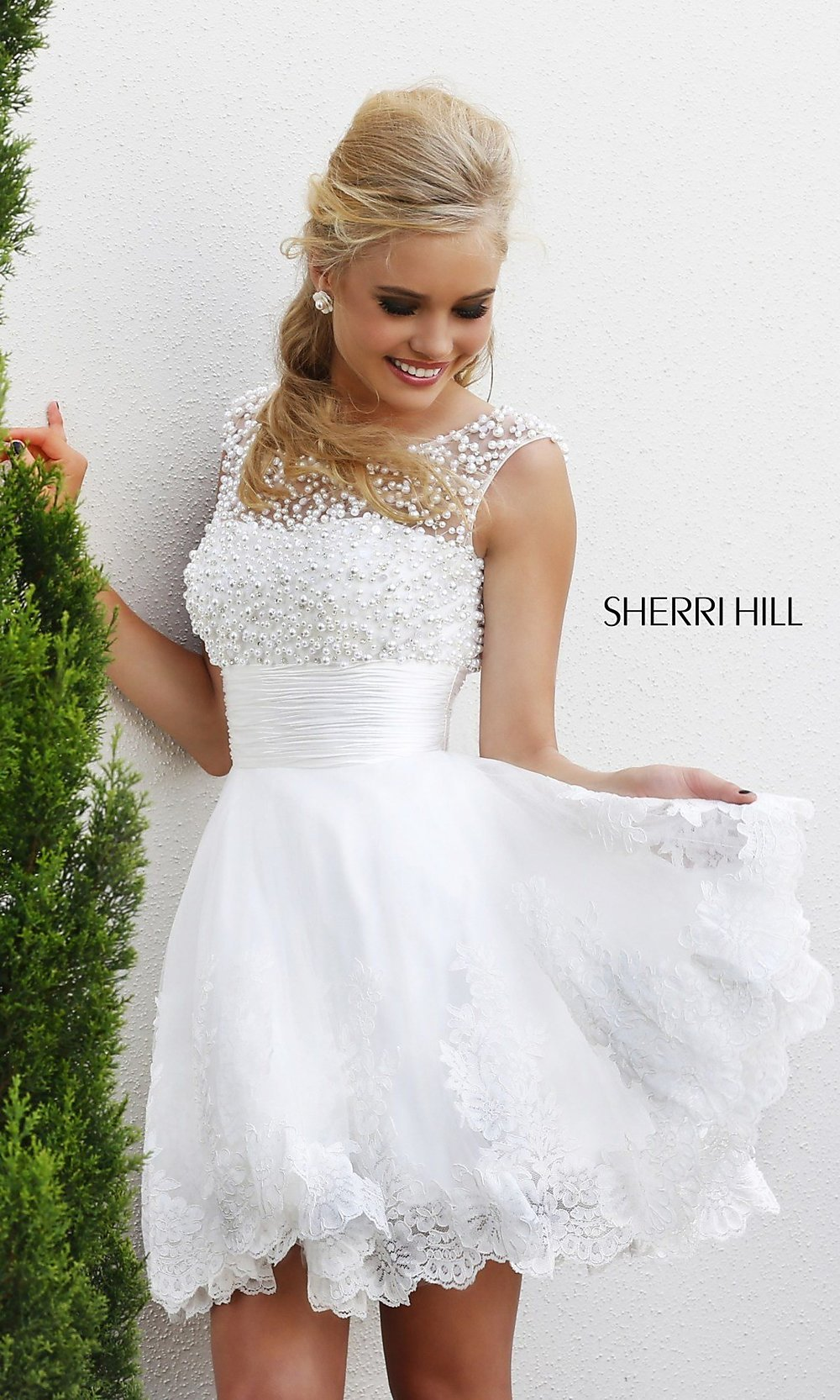 Sherri Hill Prom Dress, Short White Dress for Prom